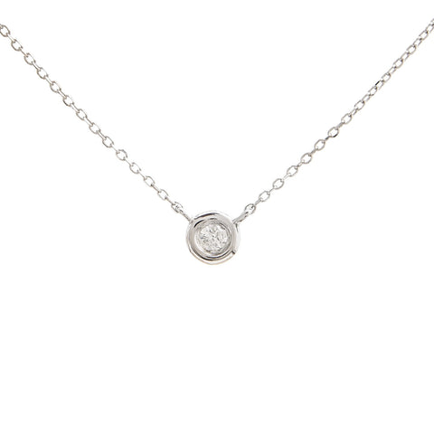 14k White Gold Tiny Bezel Diamond Necklace