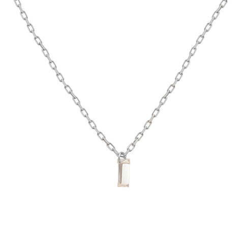 18k White Gold Nude Baguette Diamond Necklace