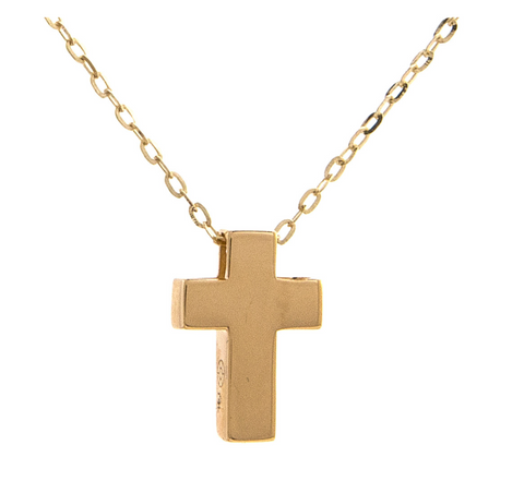 "14k Yellow Gold Mini Cross Pendant Necklace, 16"" + 2"""