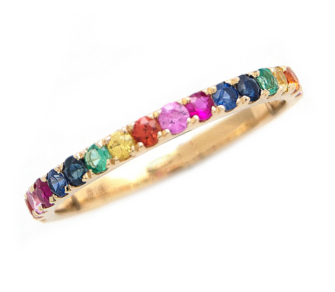 14k Yellow Gold Rainbow Gemstone Ring