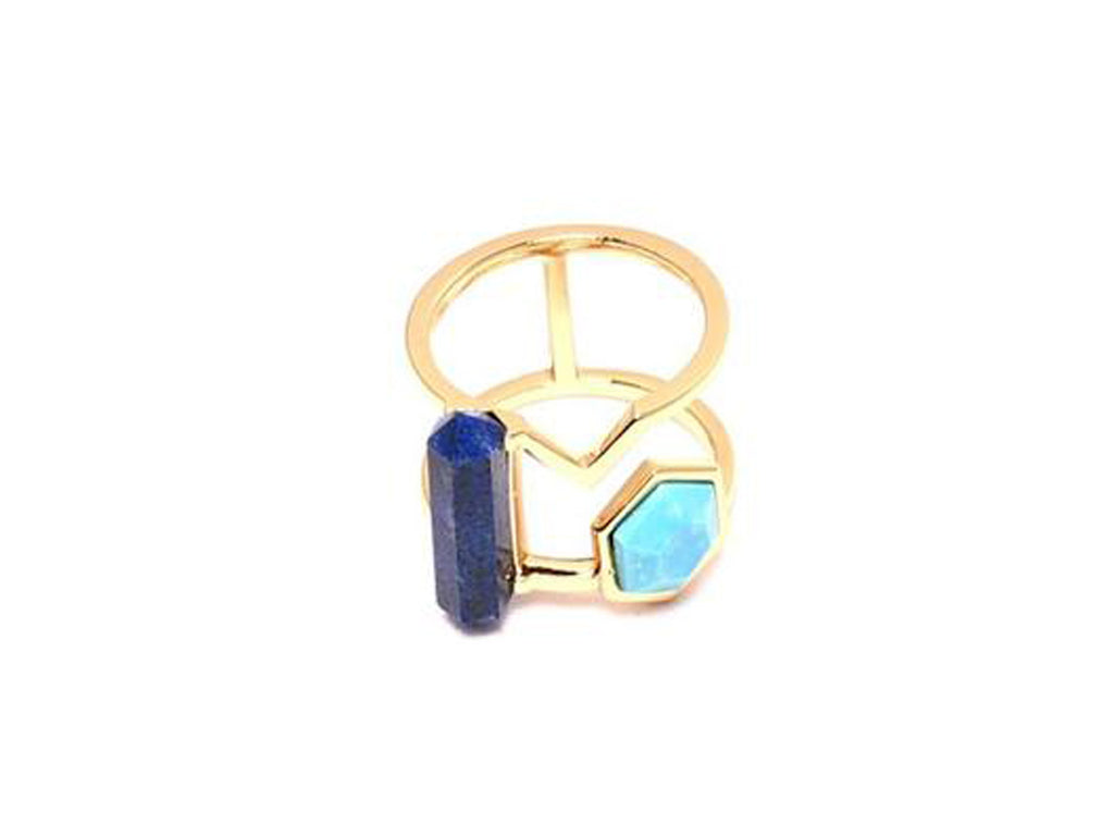 Howlite and Lapis Lazuli Ocean Mix Ring