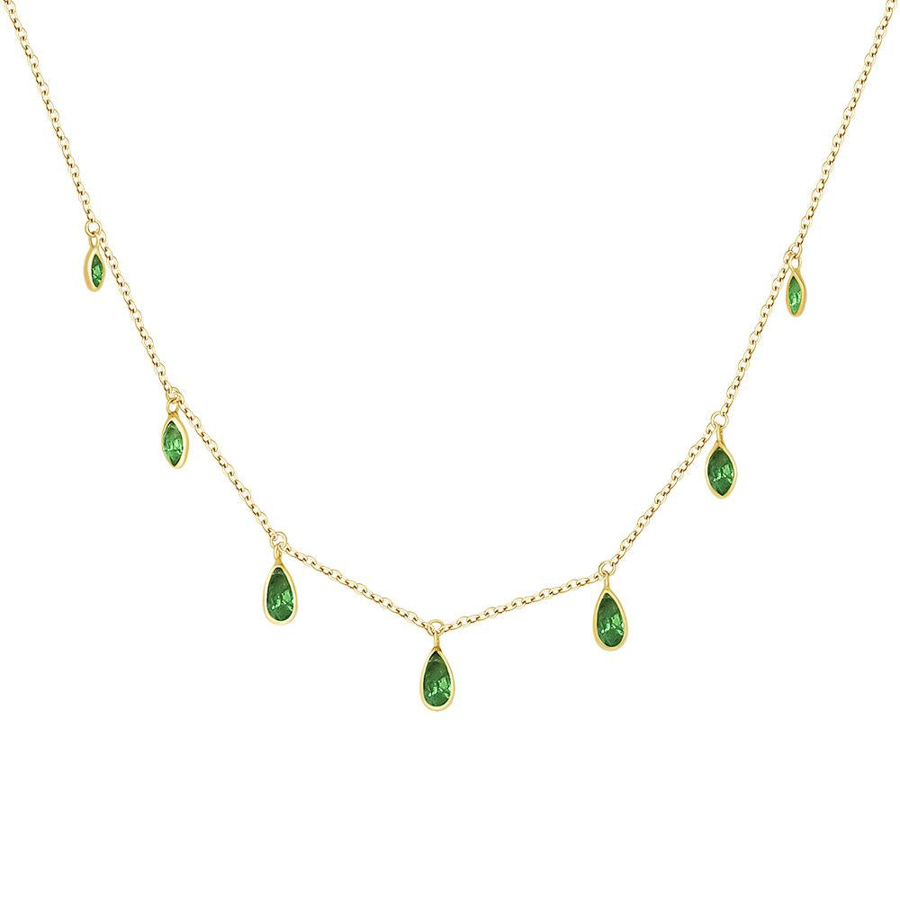 14k Gold Green Emeralds Necklace