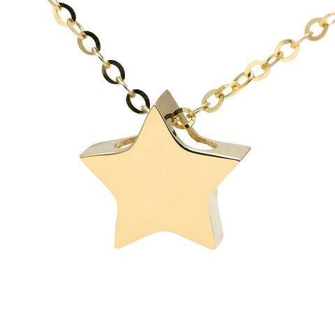 "14k Yellow Gold Star Pendant Necklace, 16"" + 2"""