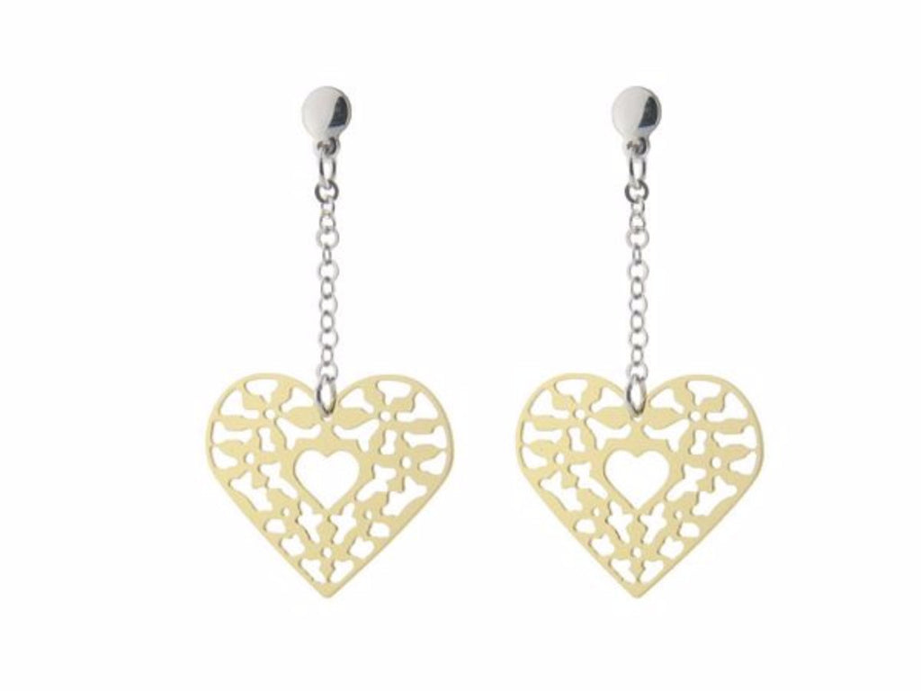 Sterling Silver Earrings Dangling Gold Plated  Filigree Heart  2""