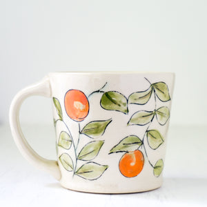 Floral Design Coffee Mug in Green and Orange