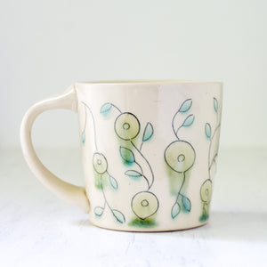 Floral Mug in Green and Blue