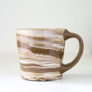 Swirl Mug in White and Brown Clay