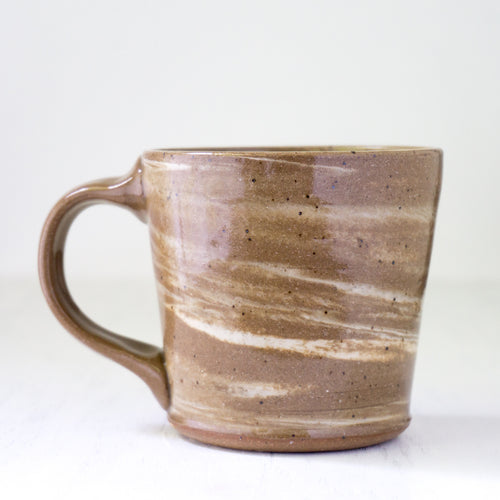 Subtle Swirl Mug in Brown and White Clay