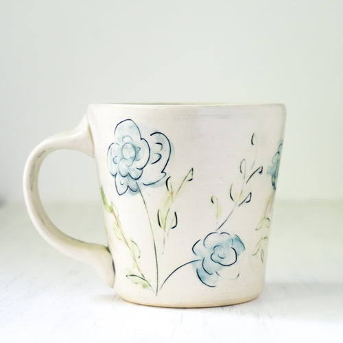 Floral Mug in Blue and Green