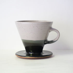 Ceramic Pour-Over Coffee Dripper in Speckled Black and White