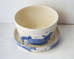 Planter in Blue Watercolor with Attached Drip Plate