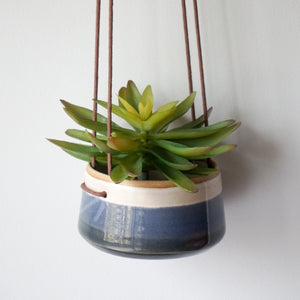 Hanging Planter in Blue and White
