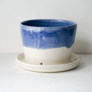 Planter in Blue with Attached Drip Plate