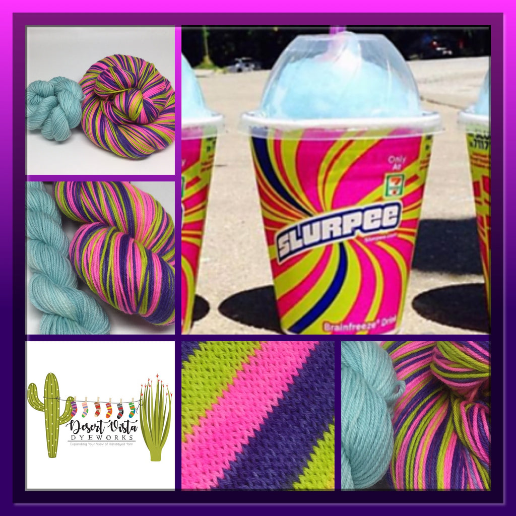 Slurpee Day Stripe Self Striping Yarn plus One Mini Skein