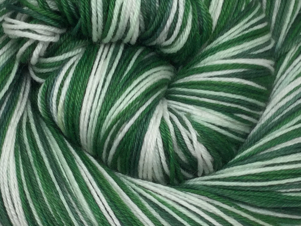 Green Plaid Holiday Cup  Four Stripe Self Striping Yarn
