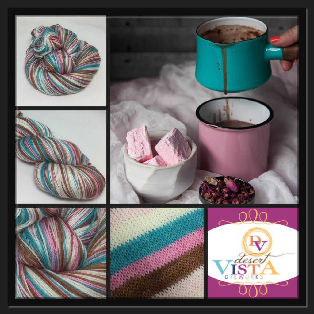 Hot Chocolate & Marshmallows Five Stripe Self Striping Yarn