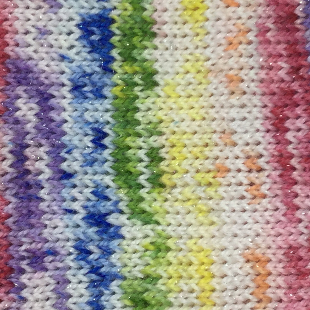 Rainbow Speckled Showers Six  Stripe Self Striping Yarn