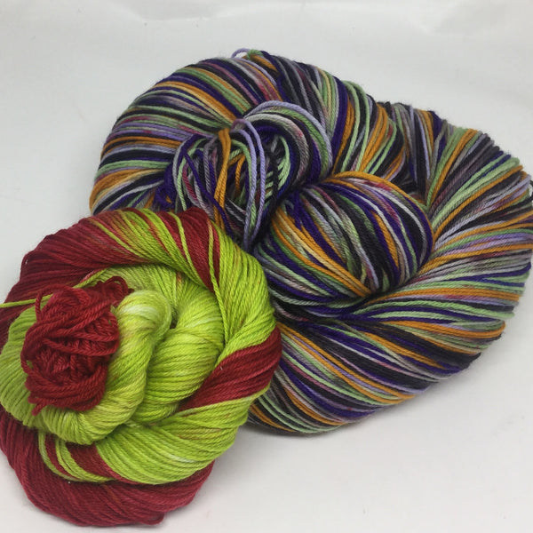 Fairest ZomBody of Them All Six Stripe Self Striping Yarn with Coordinating Mini Skein