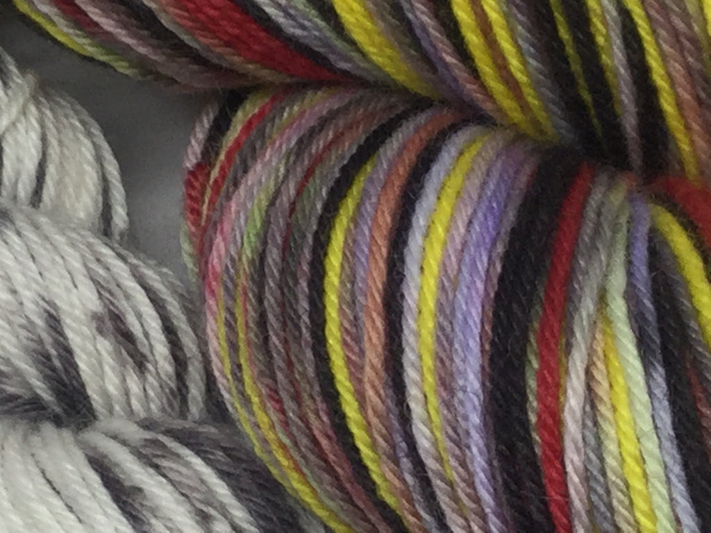 Zombody DeVil Six Stripe Self Striping Yarn with mini skein for toes and heels