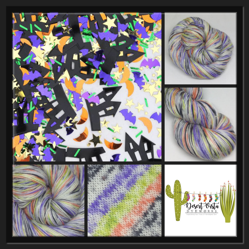 Halloween Confetti Five Stripe Self Striping Speckled Yarn