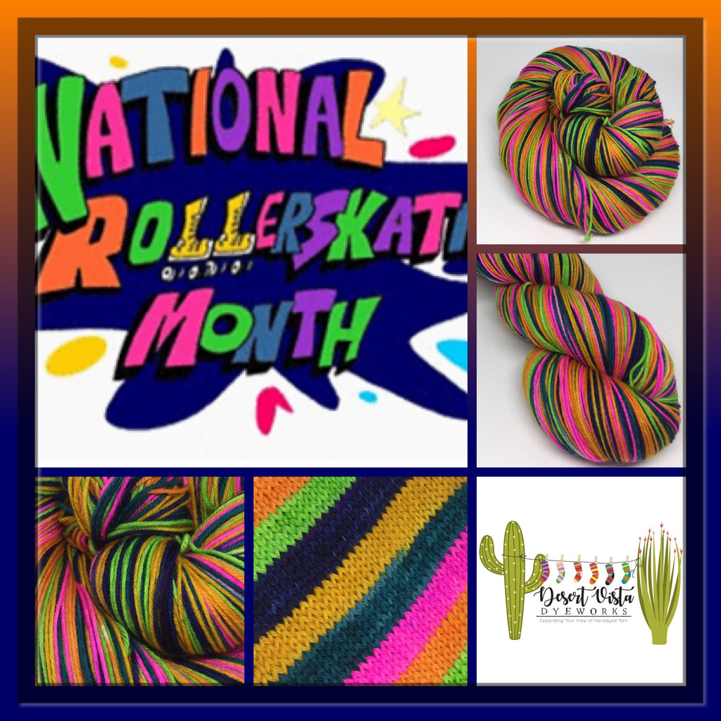 National Rollerskating Month Six Stripe Self Striping Yarn