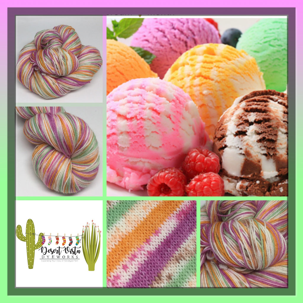 National Ice Cream Month Six Stripe Self Striping Yarn