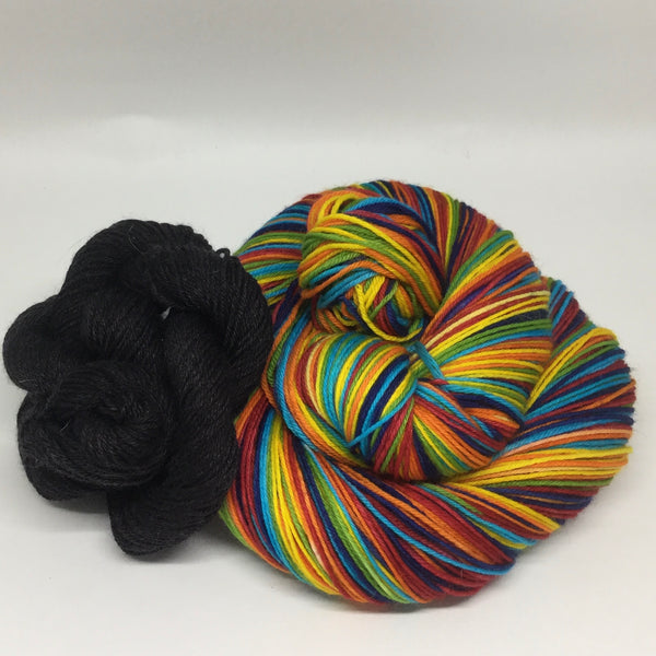 Autumn Equinox Eight Stripe Self Striping Yarn with Heel and Toe Mini Skein
