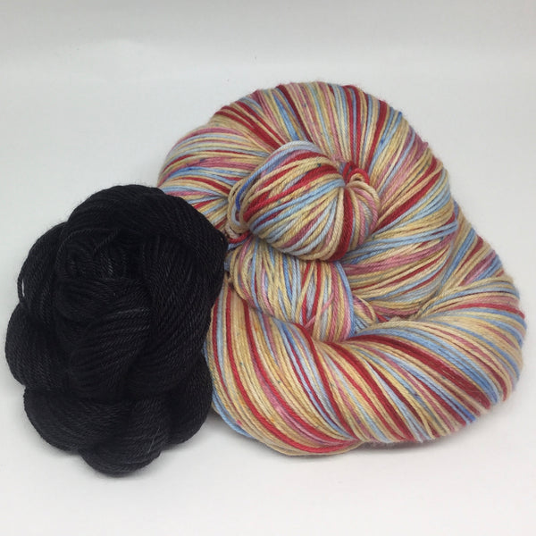 Scrabble Day Eight Stripe Self Striping Yarn With Mini Skein