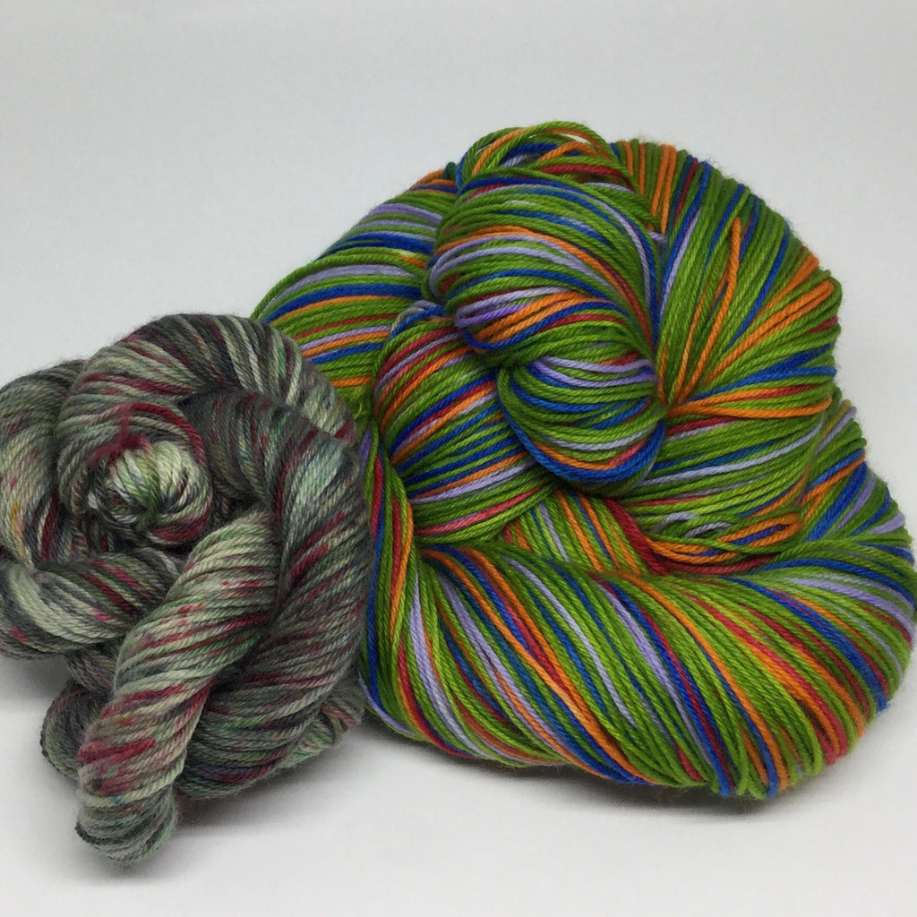 Teenage ZomBody Turtles Eight Stripe Self Striping Yarn with Mini Skein for Toe and Heels