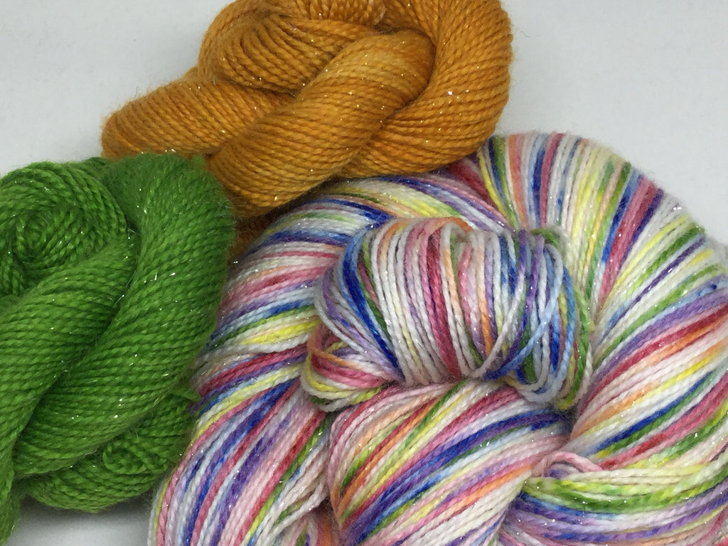 Rainbow Speckled Showers Six  Stripe Self Striping Yarn with Two Mini Skeins