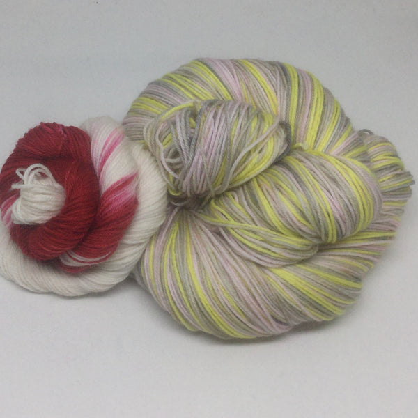 Patisserie Four Stripe Self Striping Yarn with Heel and Toe Mini Skein