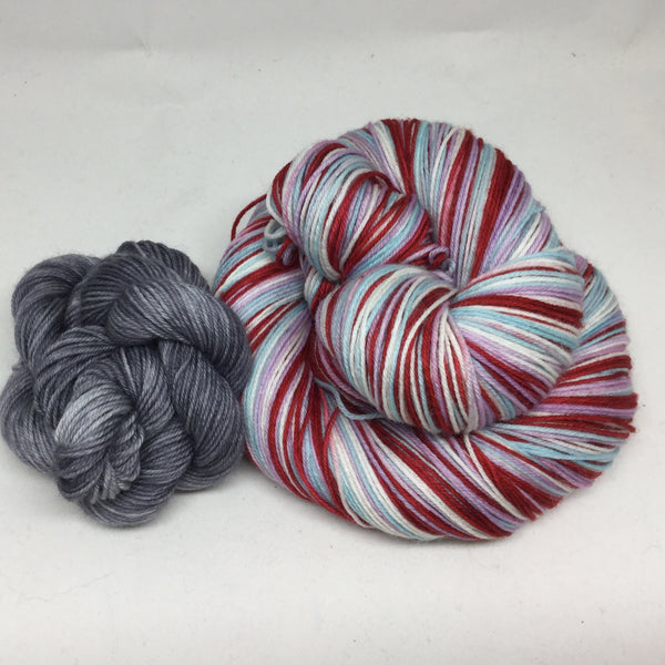 I Love Lucy Four Stripe Self Striping Sock Yarn with Heel and Toe Mini Skein