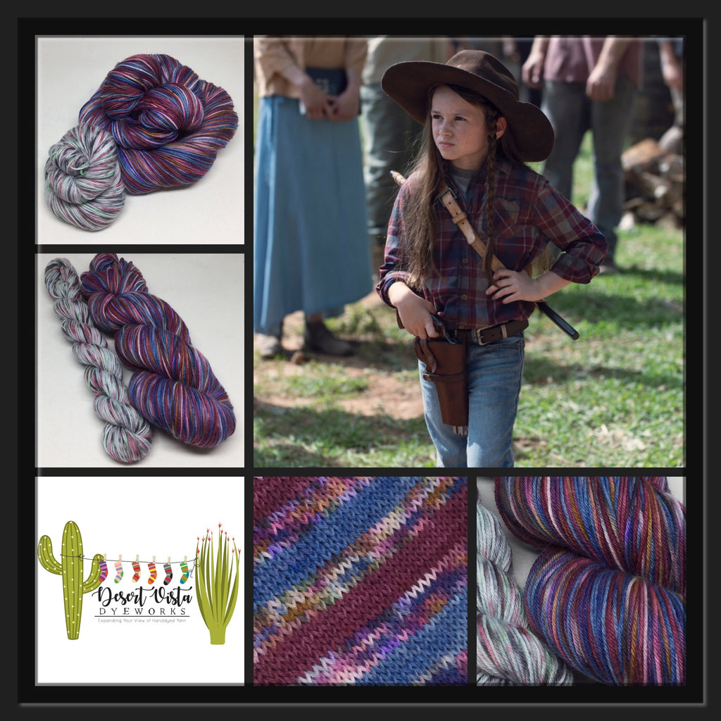 Judith, Judith Grimes Four Stripe Self Striping Yarn with Mini Skein for Toes and Heels