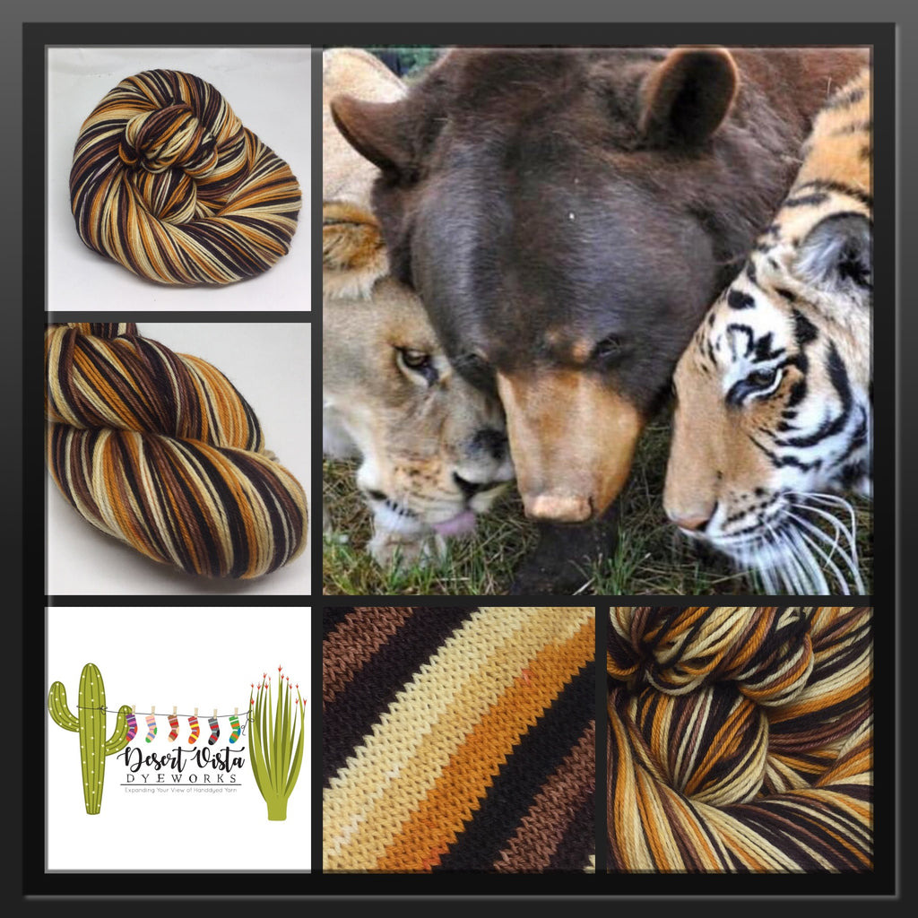 Lions and Tigers and Bears Six Stripe Self Striping Yarn