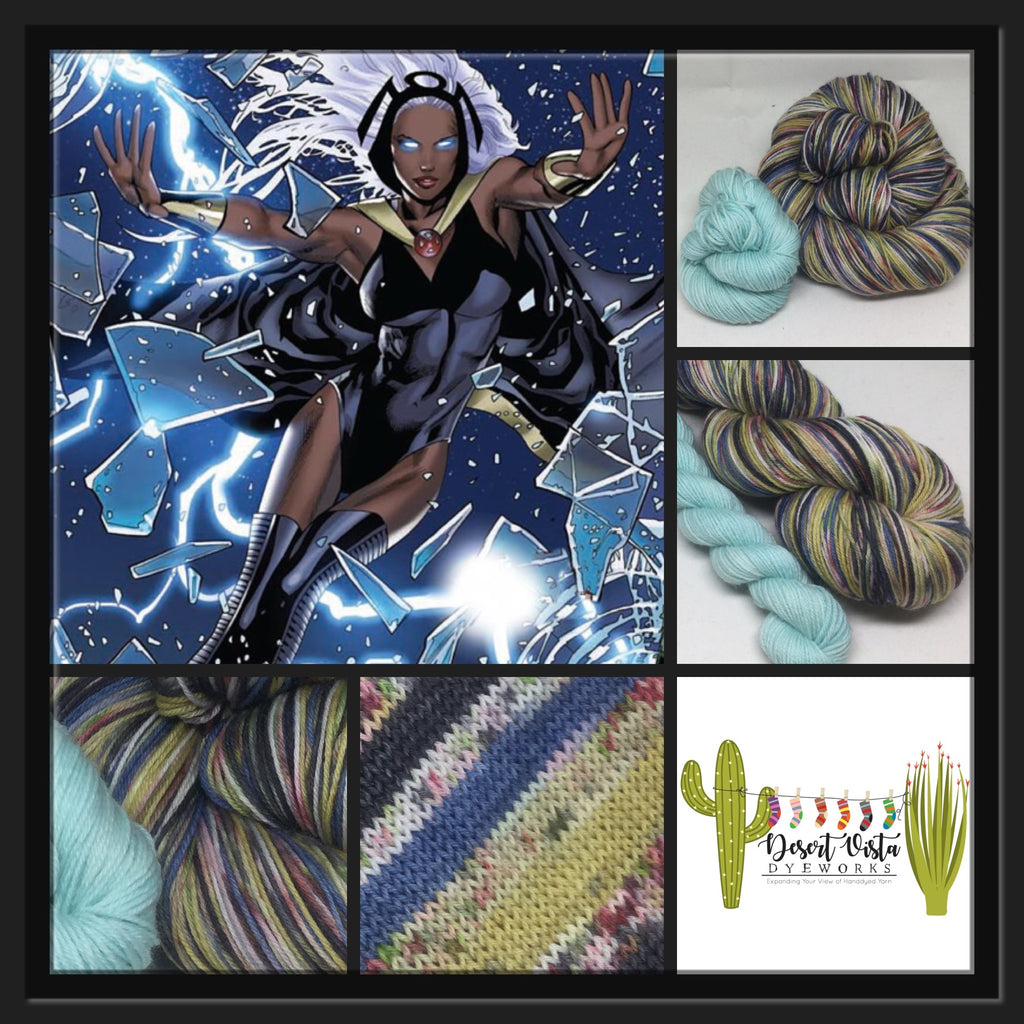 Zombody Storm Six Stripe Self Striping Yarn with Mini Skein for Toes and Heels