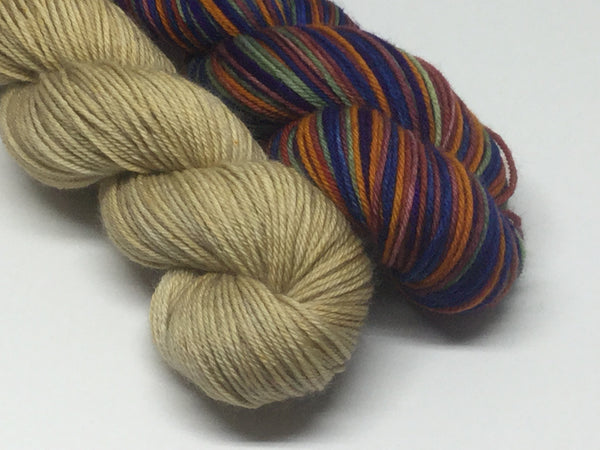 Autumn Rainbow Six Stripe Self Striping Yarn Half Skeins Set