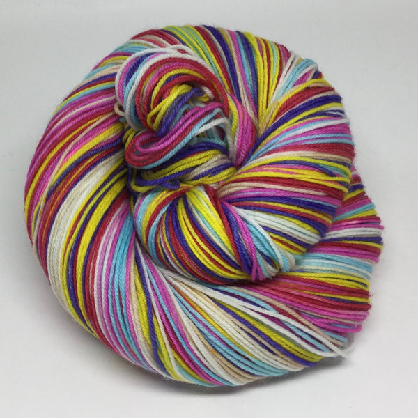 HBD, Charles Shultz Seven Stripe Self Striping Yarn with a 100 yd Mini Skein