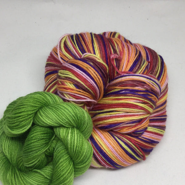 Dahlias Six Stripe Self Striping Yarn with Mini Skein for Toes and Heels