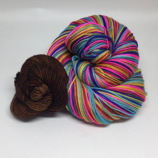 Hershey Park Eight Stripe Self Striping Sock Yarn with Mini Skein for Toes and Heels