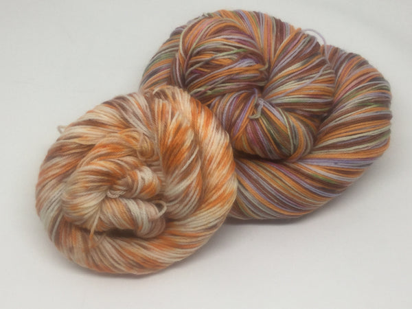 Pumpkin Spice ZomBody Four Stripe Self Striping Yarn with Mini Skein