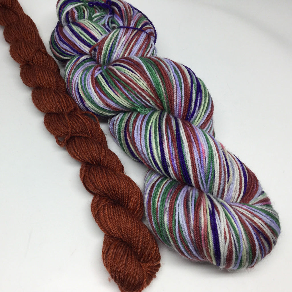 SteamPunk ZomBody Six Stripe Self Striping Yarn with Mini Skein