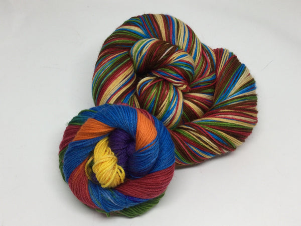 You're Welcome Six Stripe Self Striping Yarn Plus Mini Skein