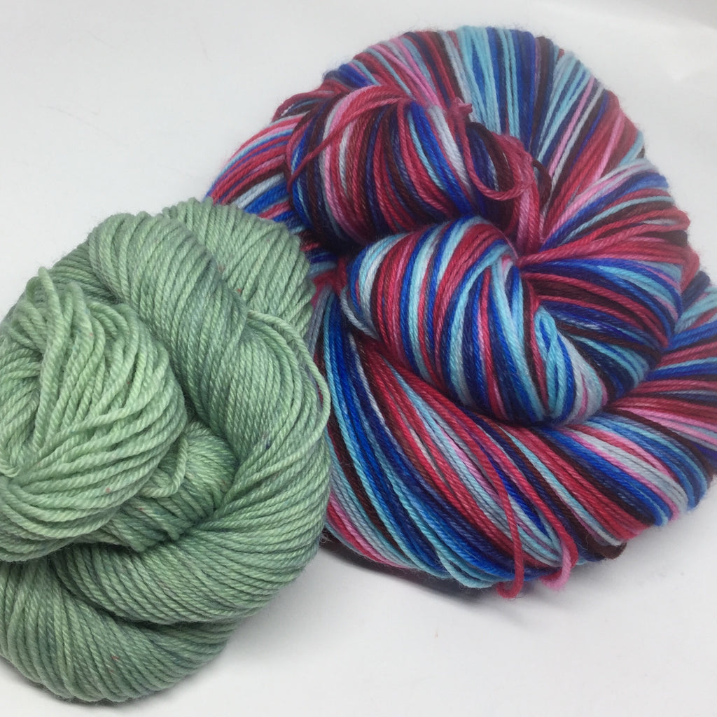 Time After Time Eight Stripe Self Striping Yarn with Semi Solid Mini Skein