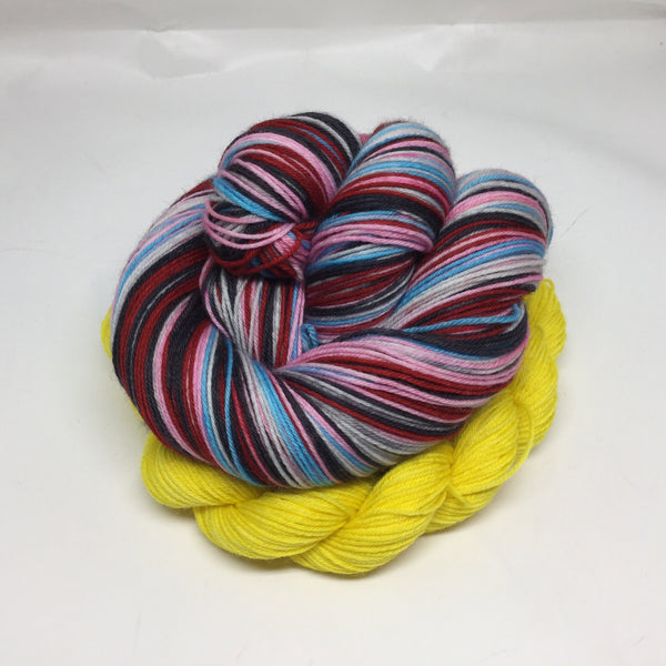 Rocky Horror Five Stripe Self Striping Yarn With Heel/Toe Mini Skein
