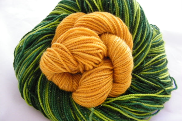 Shamrock Gold Three Stripe Self Striping Yarn with Mini Skein