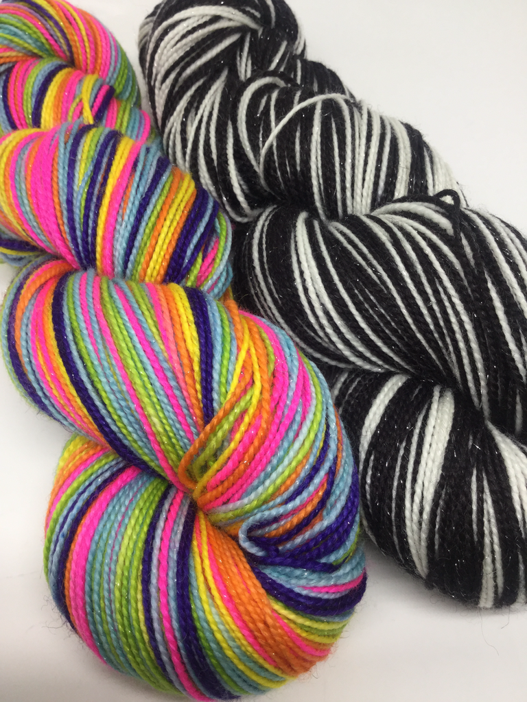 Lisa Frank Seven Stripe Self Striping Yarn with Two Stripe Mini Skein