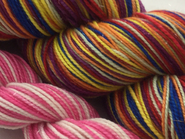 CandyLand Six Stripe Self Striping Yarn with Pink and White Mini Skein