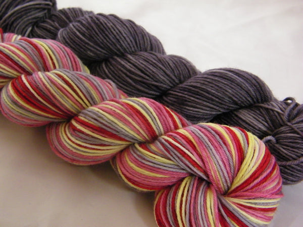 Pink Inspired Four Stripe Self Striping Yarn with Medium Grey Mini Skein