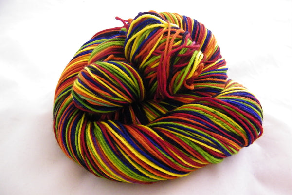 Roller Disco Rainbow Six Stripe Self Striping Yarn