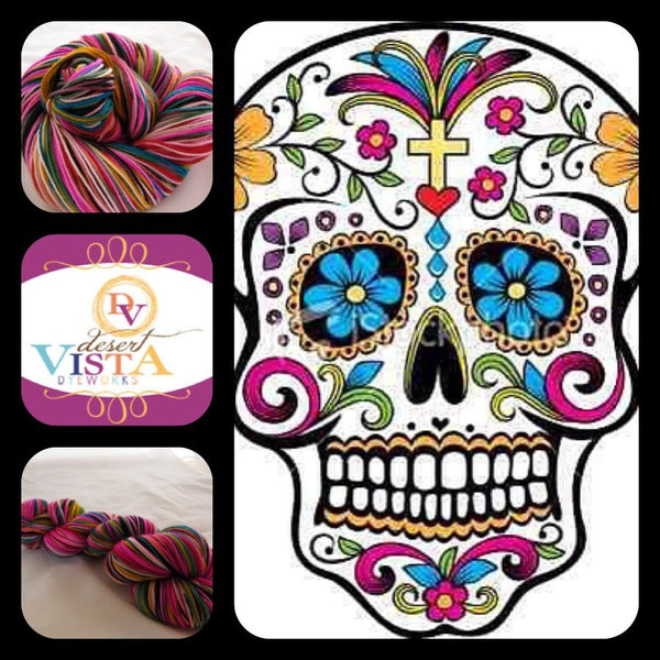Dia de los Muertos Twelve Stripe Self Striping Yarn